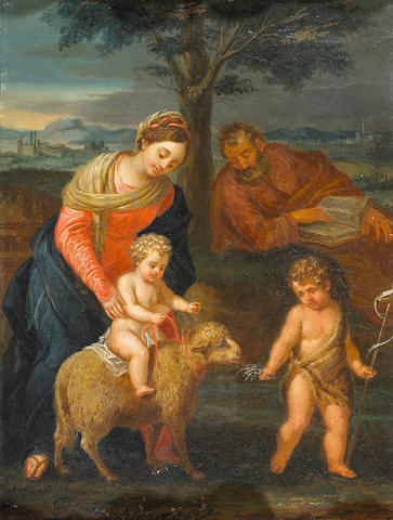 Roman School, 17th/18th Century The Holy Family with St. John the Baptist 16 1/4 x 12in (41.5 x 30.5cm)
