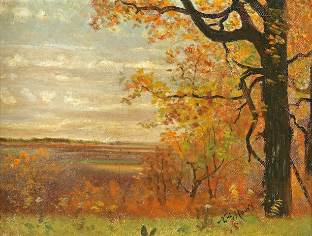 Nelson Augustus Moore (American, 1824-1902) Autumn Landscape 7 x 9 1/4in