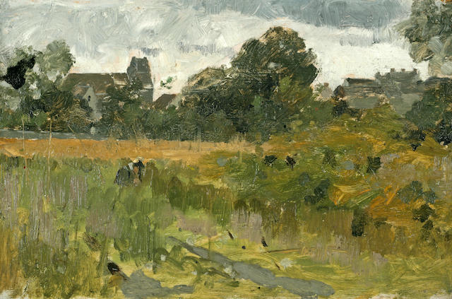 Theodore Robinson (American, 1852-1896) Landscape with Houses 6 1/2 x 10 1/4in