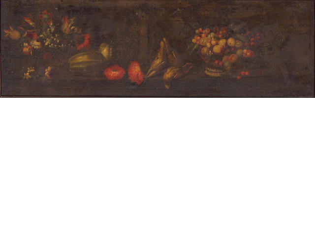 Italian School, 17th Century A still life with fruit and flowers; also a companion still life (a pair) 19 3/4 x 61in (50.2 x 154.9cm)