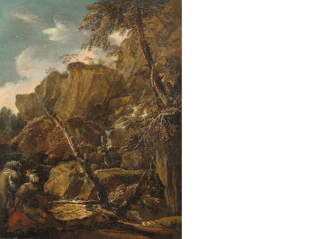 Circle of Salvator Rosa (Arenella 1615-1673 Rome) A rocky river landscape with a soldier and his horse in the foreground 17 1/2 x 14in (44.5 x 35.6cm)