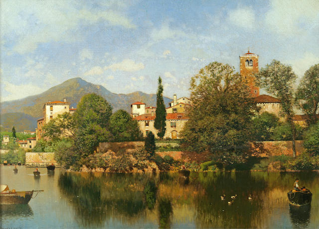 Henry Pember Smith (American, 1854-1907) Italian Lakeside Town 20 x 28in