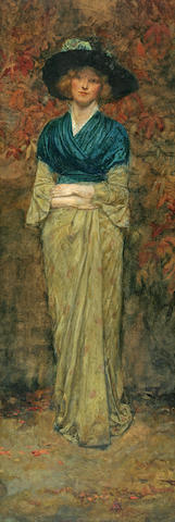 George Henry Boughton (American, 1833-1905) Full Length Portrait of a Woman in a Blue Shawl 30 3/4 x 11 1/2in