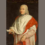 Roman School, 18th Century A portrait of a cardinal, three-quarter length, holding a letter 39 x 29 1/2in (99 x 74.9cm)