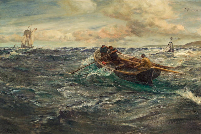 Charles Napier Hemy (British, 1841-1917) The pilot 40 x 60in (101.6 x 152.4cm)