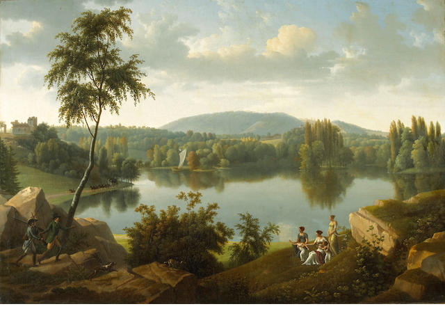 Alexandre Hyacinthe Dunouy (French, 1757-1841) An extensive landscape with figures greeting hunters along the banks of a river 35 1/4 x 51in (89.4 x 129.5cm)