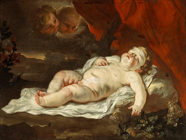 Circle of Luca Giordano (Italian, 1634-1705) The sleeping Christ Child 29 1/2 x 39in (75 x 99cm)