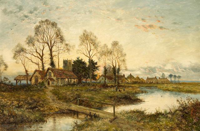 Daniel Sherrin (British, 1868-1940) Evening in the village 24 x 36in (61 x 91.4cm)