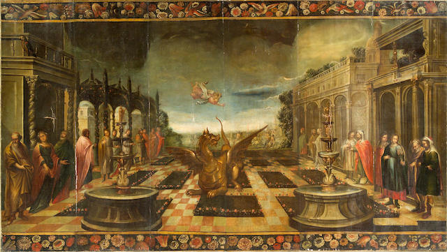 Italian School, 18th Century  A dragon with figures in an ornamental garden 73 3/4 x 131 1/2in (187.4 x 334cm) unframed