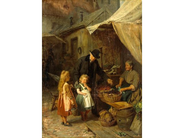 Felix Schlesinger (German, 1833-1910) At the market 24 3/4 x 18 1/2in (63 x 47cm)
