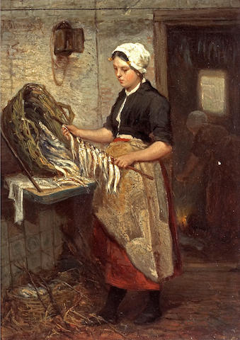 Bernardus Johannes Blommers (Dutch, 1845-1914) Preparing the catch 7 3/4 x 5 3/4in (19.7 x 14.6cm)