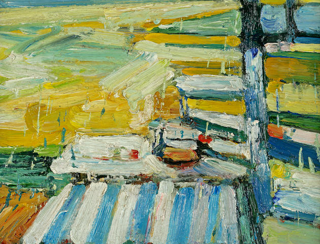 Roland Petersen (American, b.1926) Study for a Picnic Series 7 x 9 1/4in