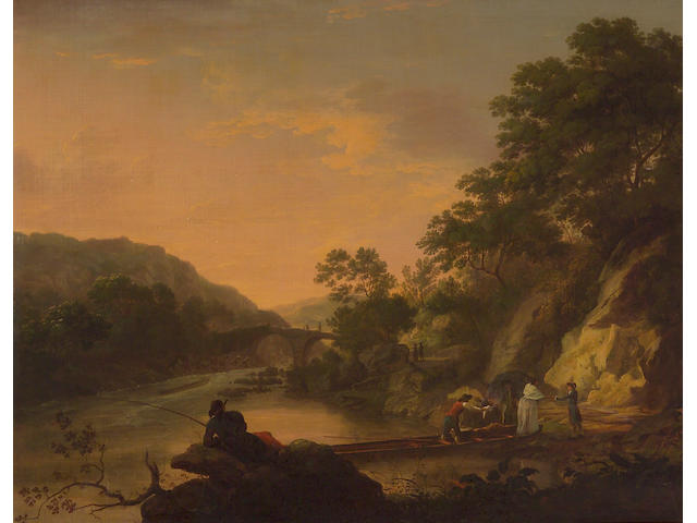 Studio of John Rathbone (British, 1750-1807) An extensive river landscape with figures 38 x 49 3/4in (96.5 x 126.3cm)