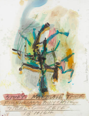 Dennis A. Oppenheim (American, b.1938) Study Marriage Tree, 1999 50 x 38in (127 x 97cm)