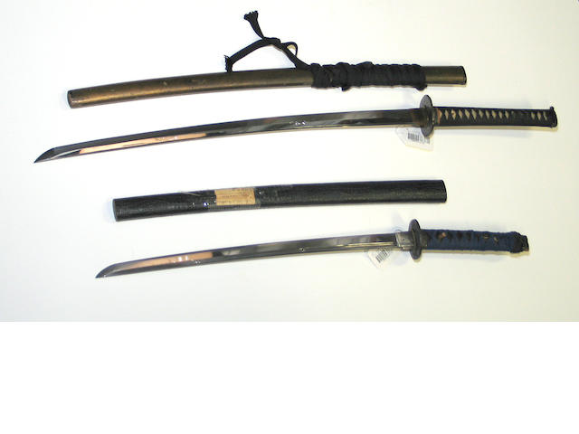 A katana and wakizashi with horimono