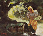 Fernando Cueto Amorsolo (Filipino, 1892-1972) Girl by a River, 1932; also a painting by Hipolita Cer