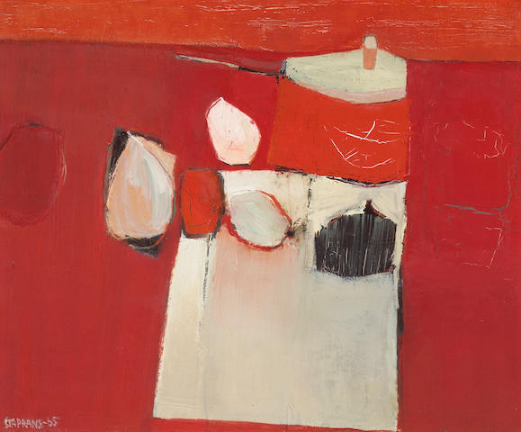 Raimonds Staprans (Latvian/American, b.1926) Red Kitchen, 1965 28 x 34in (71.1 x 86.3cm)