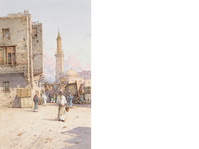Spyridon Scarvelli (Greek, 1868-1942) A street scene in Mousky, Cairo; also a companion watercolor (
