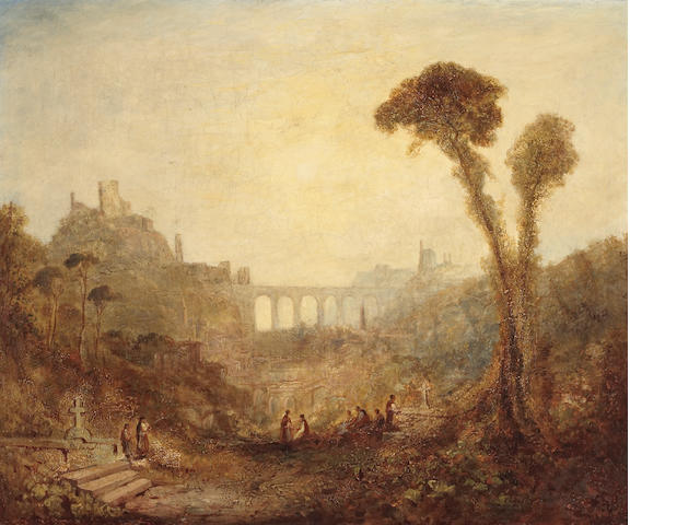 Studio of Joseph Mallord William Turner (British, 1775-1851) An extensive landscape with figures in