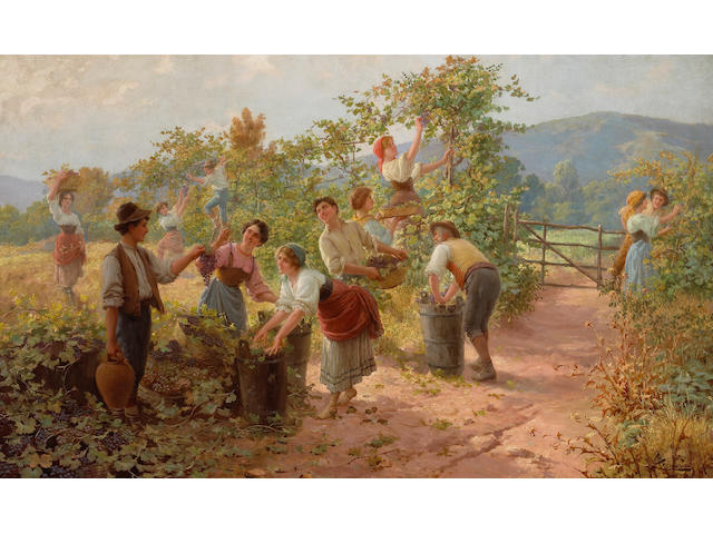 Carlo Ferranti (Italian, 1840-1908) The grape harvest 23 3/4 x 39 1/2in (60.3 x 100.3cm)