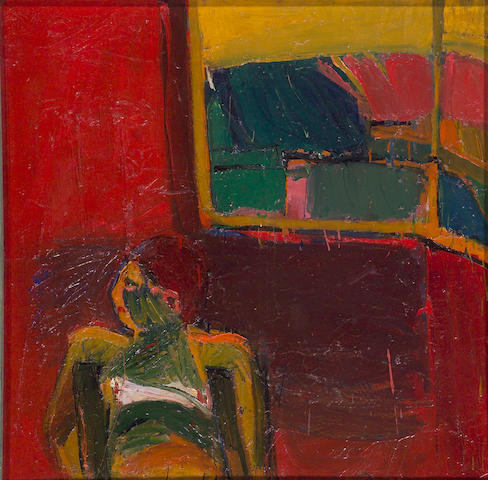 Joan Brown (American, 1938-1991) Untitled (Figure Red Wall) 40 x 40in (101.5 x 101.5cm)