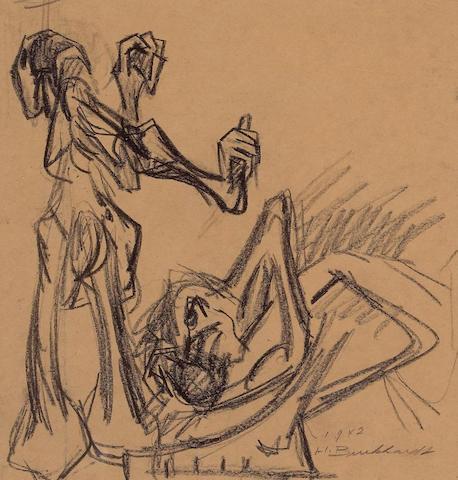 Hans Gustav Burkhardt (American, 1904-1994) War Series, 1942  11 1/2 x 17in (29 x 43cm) (sheet uneve