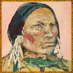 Ira Yeager (American, b.1938) Native American Indian and Fish 48 x 48in (122 x 122cm)