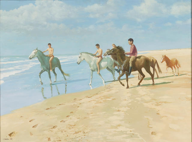 Henry Robertson Craig (British, 1916-1984) Horses on the Shore 30 x 40in (76.2 x 101.5cm)