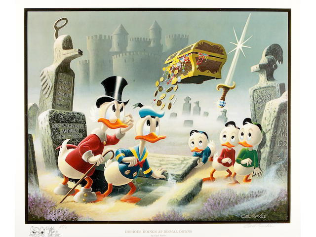 "Carl Barks – Another Rainbow Gold Plate Artist Proof AP-6 to ""Dubious Doings at Dismal Downs"""
