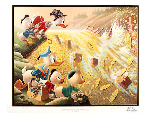"Carl Barks – Another Rainbow Gold Plate Artist Proof AP-6 to ""Dam Disaster at Money Lake"""