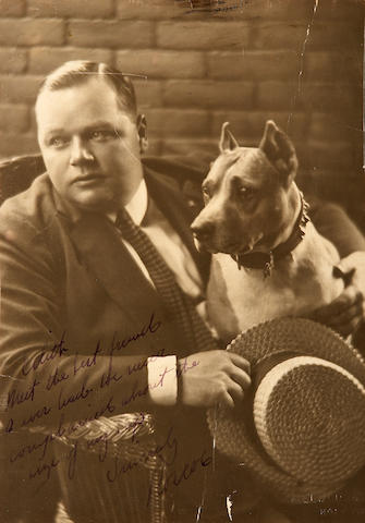 "A Roscoe ""Fatty"" Arbuckle signed black and white photograph, 1920s"