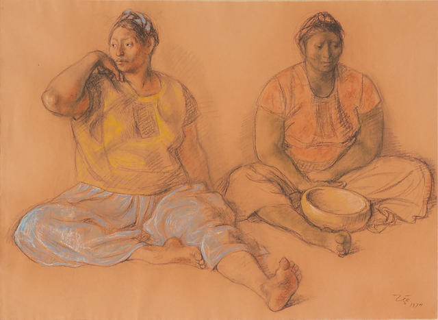 Francisco Zúñiga  (Mexican, 1912-1998) Dos juchitecas sentadas, 1974 19 x 26in (48.3 x 66cm)