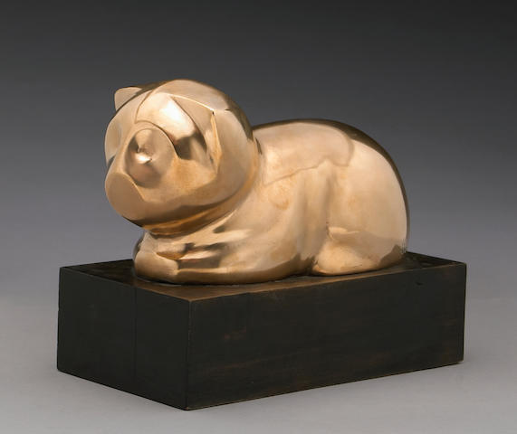Beniamino Benevenuto Bufano (Italian/American, 1898-1970) Cat height with base 7 1/2in (19.1cm)
