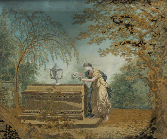 A French silk, gouache and chenille embroidered allegorical picture