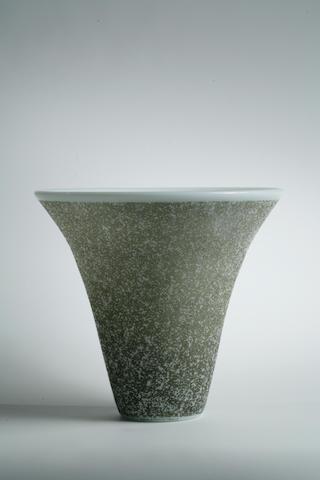 A Daum Nancy stippled etched glass vase