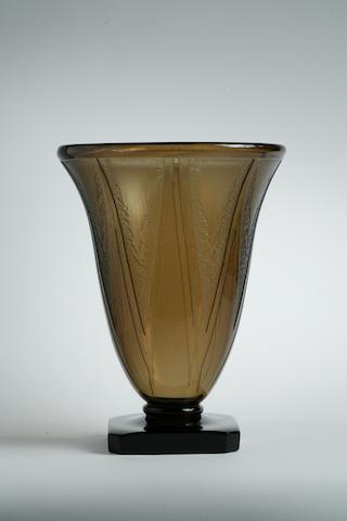 A Daum Nancy acid-etched glass vase