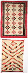 Two Navajo rugs: 6ft x 4ft 5in, 5ft 2in x 3ft 7in