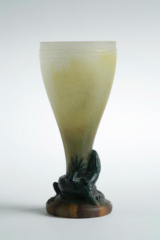 An Almeric Walter pâte-de-verre lizard vase