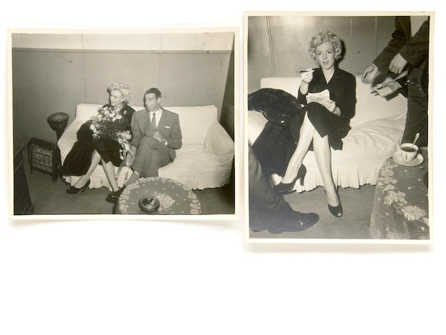 A Marilyn Monroe and Joe DiMaggio set of never-before-seen black and white candid snapshots, 1954