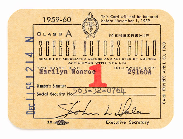 A Marilyn Monroe Screen Actors Guild membership card, 1959-1960