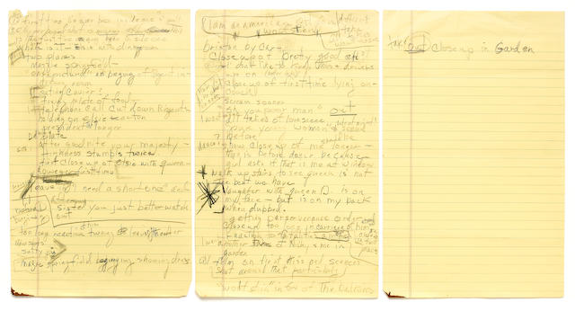 "A Marilyn Monroe set of handwritten notes about ""The Prince and the Showgirl,"" 1957"