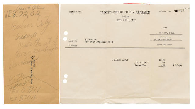A Marilyn Monroe annotated envelope and receipt for a black beret, 1954