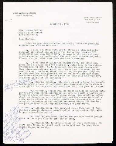 A Marilyn Monroe annotated letter from her press agent, 1959