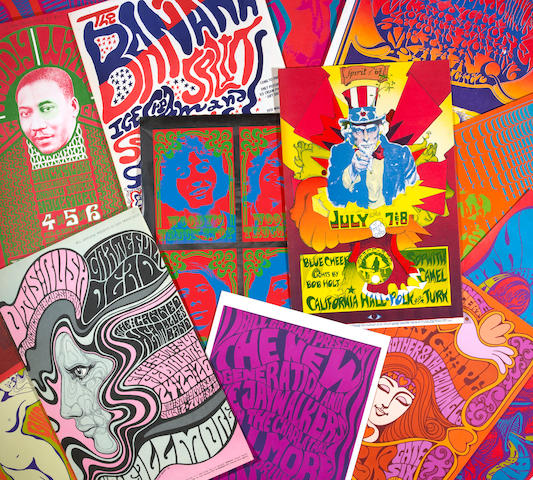 A group of psychedelic rock concert posters, 1960s