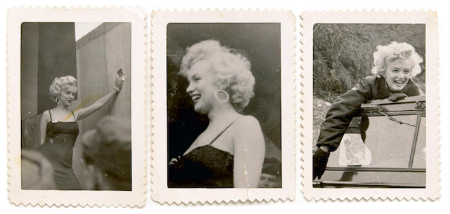Three Marilyn Monroe black and white snapshots from Korea, 1954