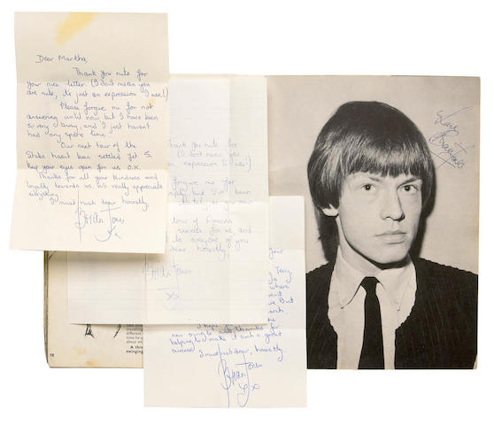 A Brian Jones group of handwritten letters and a signed magazine, 1965, 1966