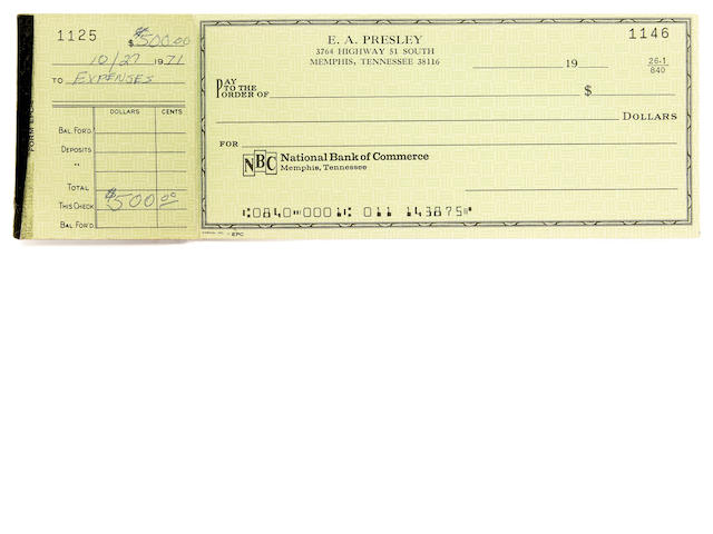 An Elvis Presley partially used personal checkbook, 1971-1972