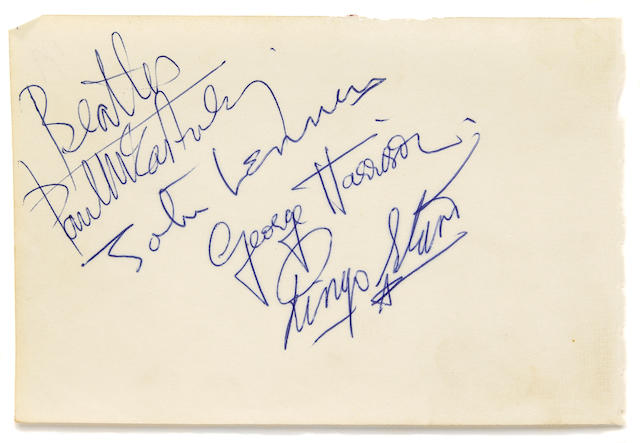 The Beatles signatures on a piece of paper, circa 1965