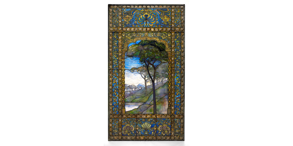 A good Tiffany leaded Favrile glass and pebble landscape window