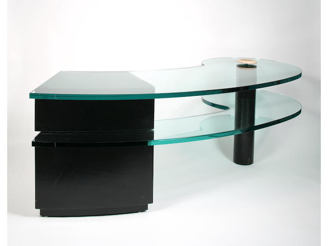 A Karl Springer leather and glass Constellation desk